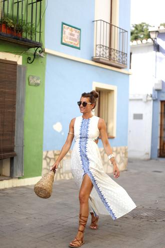 sunglasses b a r t a b a c blogger slit dress gladiators blue and white