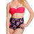 Pink Spaghetti Strap Floral Print 2pc Swimsuit