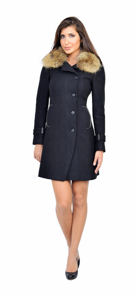 Soia & kyo ren classic black fitted wool coat with fur collar