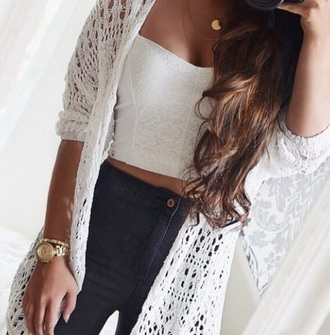top lace top white top crop tops jeans cardigan