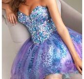 dress,beautiful,fancy,green,blue,turquoise,prom dress,prom,bag,pink,purple,short prom dress,sparkle,strapless,galaxy print,leopard print,puffy dress,sweetheart dress,rhinestones