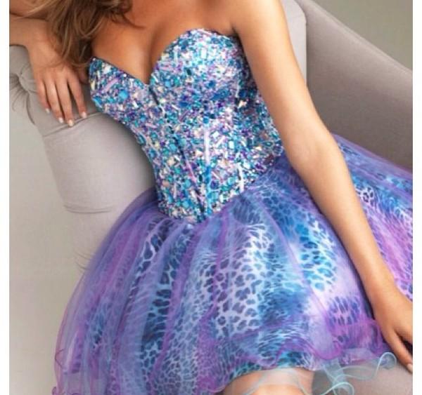 dress beautiful fancy green blue turquoise prom dress prom bag pink purple short prom dress sparkle strapless galaxy print leopard print puffy dress sweetheart dress galaxy print rhinestones