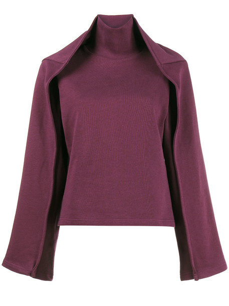 Y / Project - Sweatshirt With Double Layer Sleeves - women - Cotton - M, Pink/Purple, Cotton