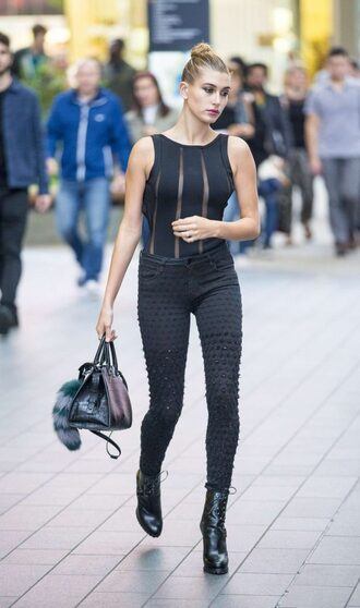 top jeans streetstyle london fashion week 2016 model off-duty ankle boots all black everything bodysuit