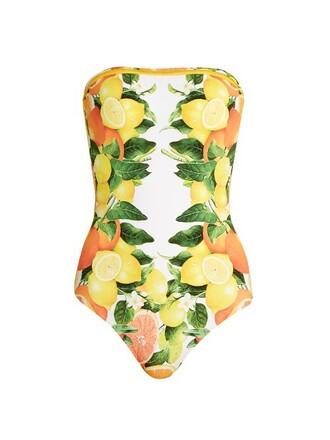 strapless print yellow swimwear