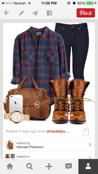 top brown short leather boots plaid flannel shirt