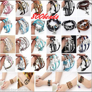 Lot Infinity Love Heart Anchor Cross Leather Bracelet Charm Ajustable Xmas Gift | eBay