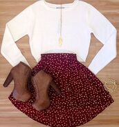 skirt,skater skirt,red skirt,booties,heels,platform shoes,girly,cute outfits,cute,outfit,shoes,shirt,jewels,top,clothes,sweater,floral,high waisted skirt,floral skirt,jumper,brown,lace up,blouse,burgundy,leaves,necklace,thanksgiving,fall outfits,white dots,brown boots,cropped sweater,hipster,platform lace up boots,polka dots,heel boots,white long sleeve,cute high heels,long sleeve crop top,fashion,cardigan,polka dot skirt,romper,white,white sweater,long sleeves,circle skirt,red skirt with white polka dots,brown booties,maroon/burgundy,pattern,cute skirt,maroon polka dot skirt,white crop tops