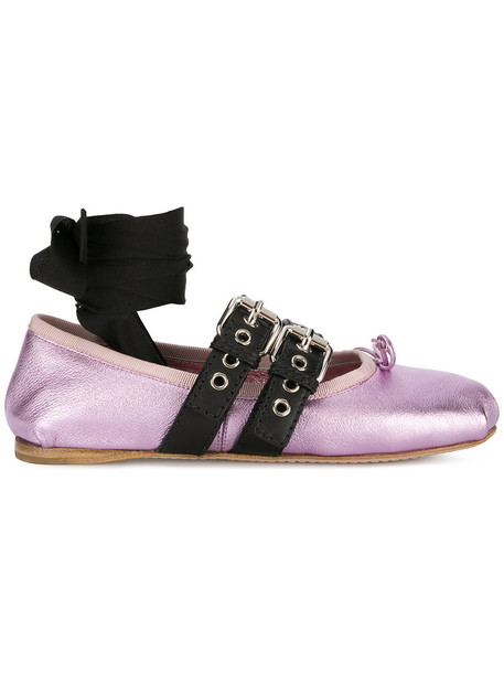 Miu Miu strappy women flats leather purple pink shoes