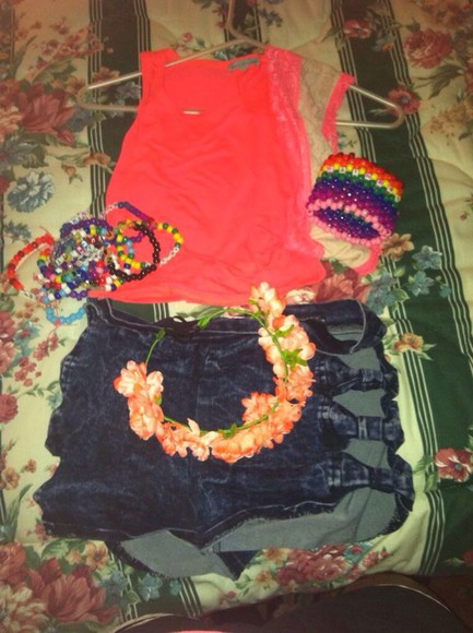 shorts bows summer outfits concert edm raveclothes denim