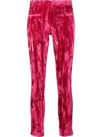 women leather purple pink pants