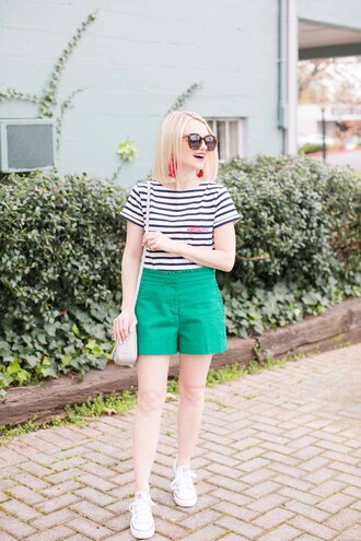 poor little it girl blogger sunglasses top jewels dress shoulder bag striped top sneakers green shorts spring outfits summer outfits
