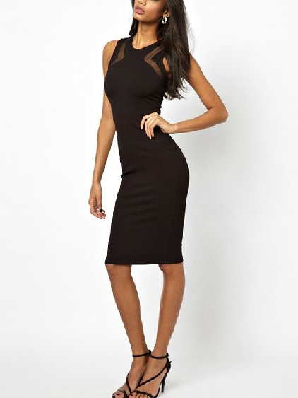 Black Bodycon Dress With Mesh Plane | Choies