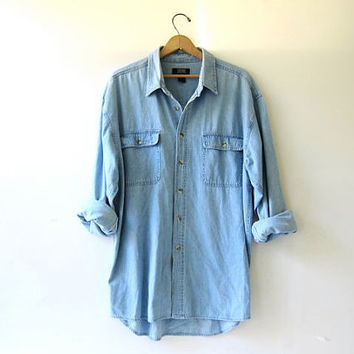 760bdb4be vintage denim jean shirt. button down shirt. oversized denim shirt on ...