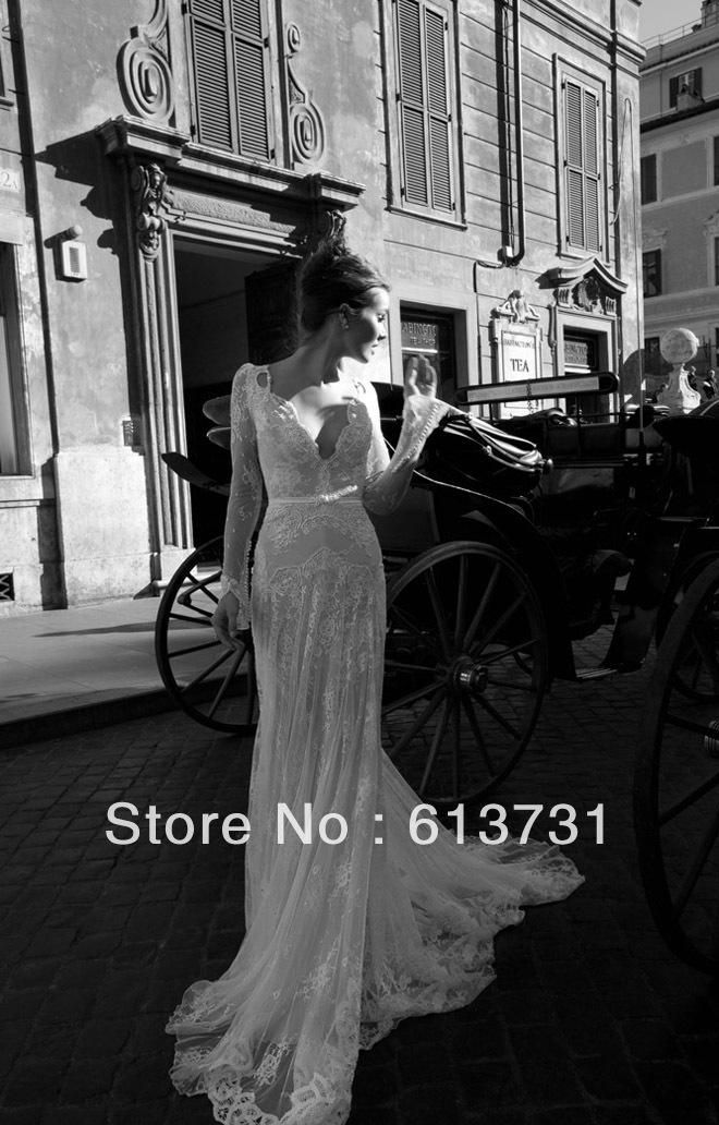 Wholesale new arrivals 2014 sexy cheap long sleeve v neck pearl bead lace tulles sheath bridal wedding dresses id1210