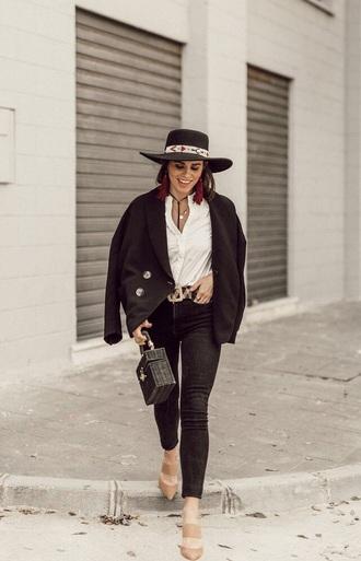 hat fedora black blazer blazer mules shirt white shirt bag jeans black jeans heels