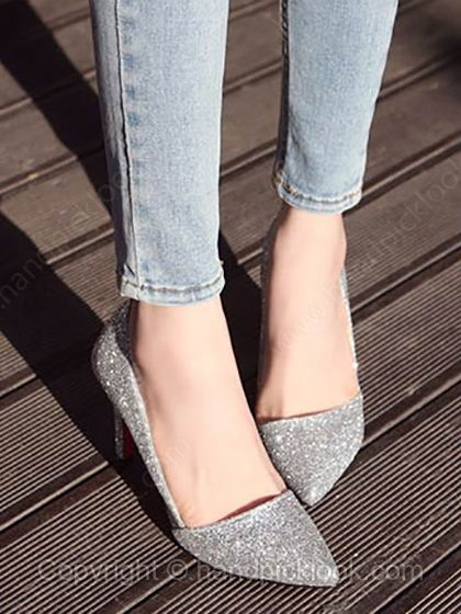 Silver Leatherette Stiletto Heel Closed Toe Heels With Sparkling Glitter Shoes - HandpickLook.com