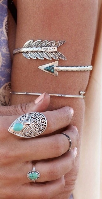 jewels arm band bangle arrow silver boho chic jewlery bracelets