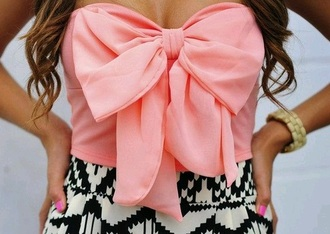 tank top pink bow girly pink tank top white and black skirt tube top outfit dress aztec skirt shirt cute top blouse