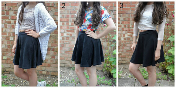 black skirt black skater skirt floral top grey long sleeve