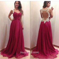 Online shop burgundy backless chiffon prom dresses with white lace open back evening dresses