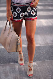 shoes,beige,cute,bag,shorts,tieup,high heels,zara,ralphlaurenshirt,zarashorts,summer outfits,givenchy