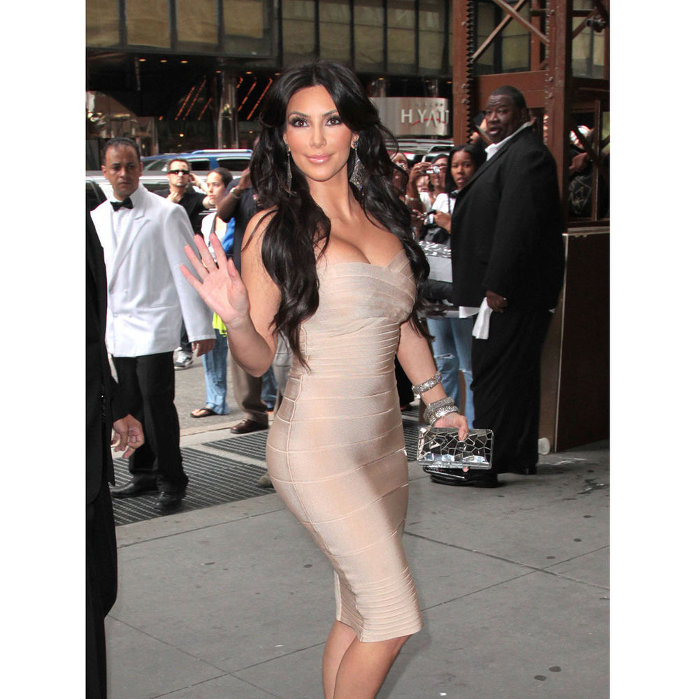 Kim kardashian beige strapless bandage dress s m l celebrity bodycon luxury qual