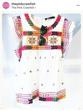 top,embroidered,flutter sleeves,white top,multicolor