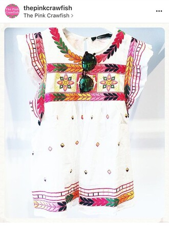 top embroidered flutter sleeves white top multicolor