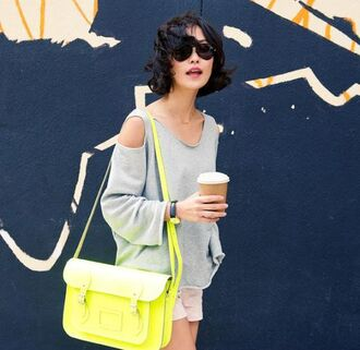 sweater cut-out shoulder sweater grey sweater high waisted shorts pink shorts bag neon neon bag yellow bag sunglasses cut out shoulder