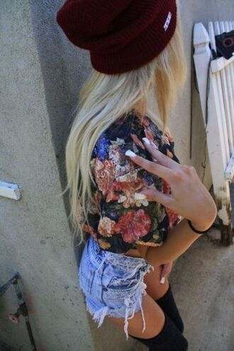 shirt shorts lovely tumblr girl blonde hair swag flowers hat