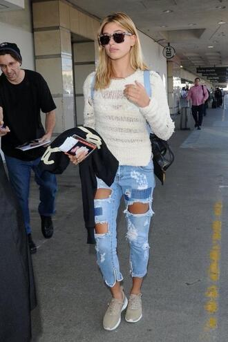 sweater jeans ripped jeans hailey baldwin sneakers top shoes