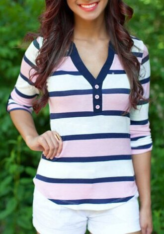 sweater blue white pink buttons cute girly style trendy sporty summer long sleeves clothes top fashion