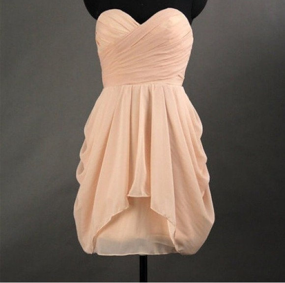 peach peach dress sweatheart neckline