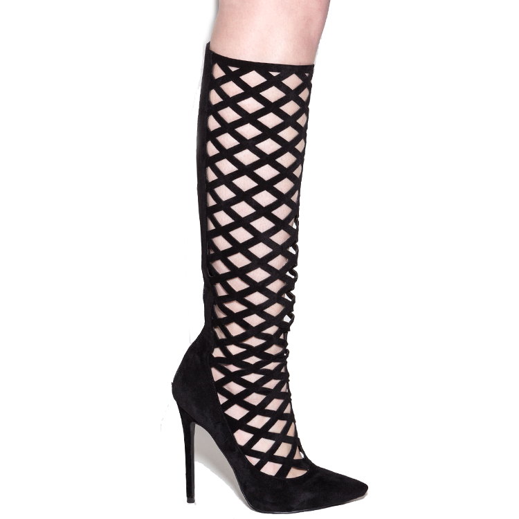 PERPLEXED Caged Knee Boot in Black at FLYJANE