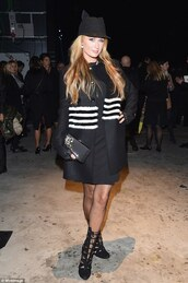 paris hilton,hat,black coat,winter coat,stripes,strappy sandals,coat,dress,shoes,jewels