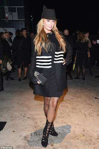 paris hilton hat black coat winter coat stripes strappy sandals coat dress shoes jewels