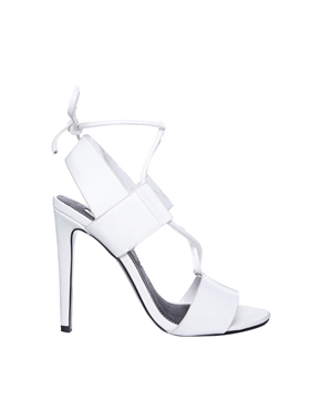 River Island | River Island Pang White Strappy Tie Up Peep Sandals at ASOS