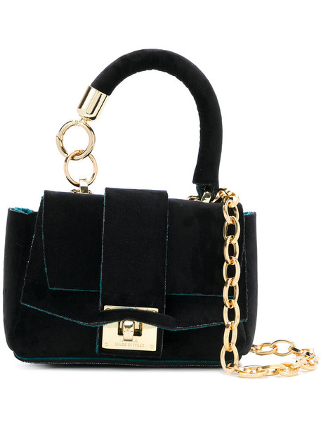mini women bag tote bag black velvet neoprene