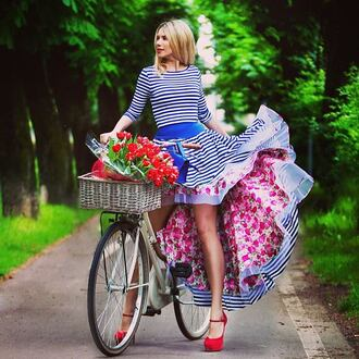 dress floral asymmetrical mariniere blue and white striped french