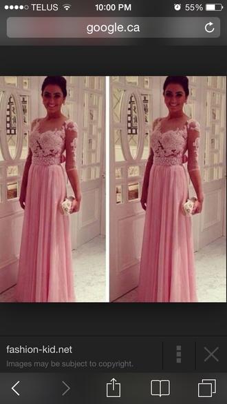 dress pink dress long prom dress lace dress floral dress