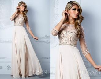dress beige dress champagne prom dress glitter dress glitter prom dress prom dress