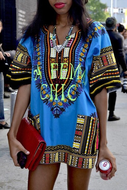 Dress Blue Dress Aztec African Print Tribal Pattern Streetstyle Tumblr Blouse Dashiki