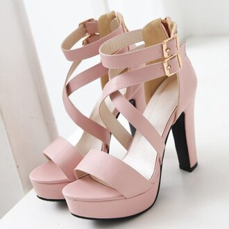 shoes rose wholesale pink pastel cute sandals heels girly summer pink sandals