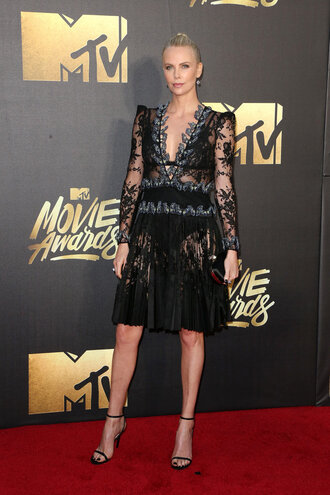 lace dress black lace dress charlize theron sandals see through see through dress black dress mtv movie awards red carpet gown prom dress