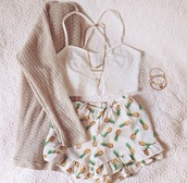 High waisted shorts,pineapple,white,tank top,jewels,top,t-shirt,shirt,style,cute,clothes,vintage,crop tops,cardigan,bralette,shorts,cross,crossed back