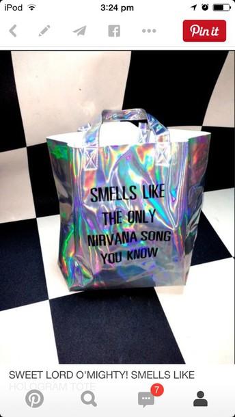 bag holographic glitter alien space