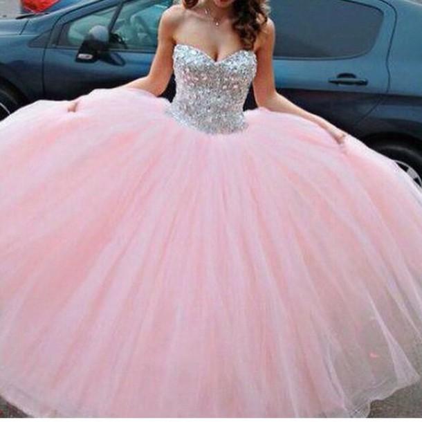 dress, big dress, puffy dress, pink dress, pink, prom dress, silver ...