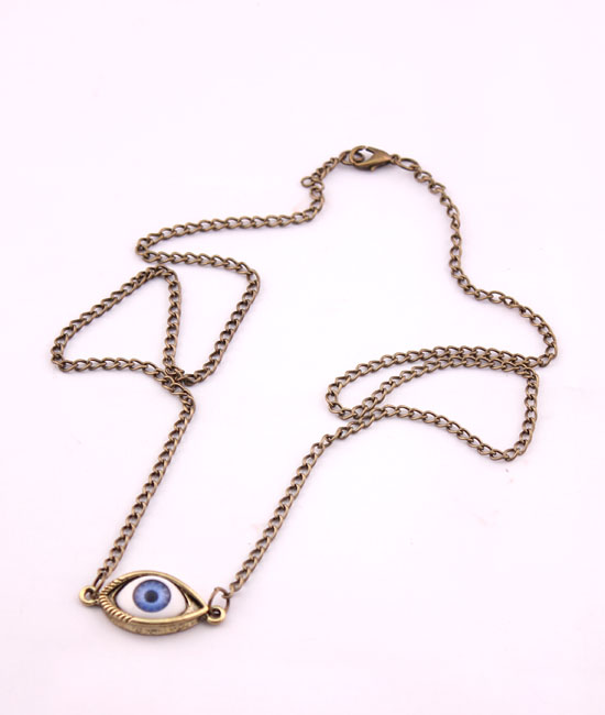 Fashion Bronze Blue Eyeball Pendant Long Sweater Necklace | eBay