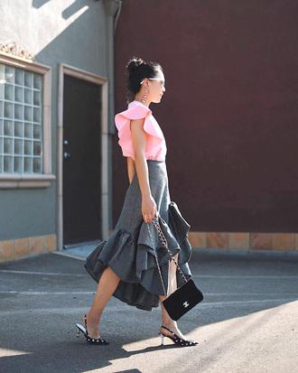 top pink top ruffled top ruffle skirt tumblr ruffle skirt midi skirt grey skirt shoes slingbacks bag